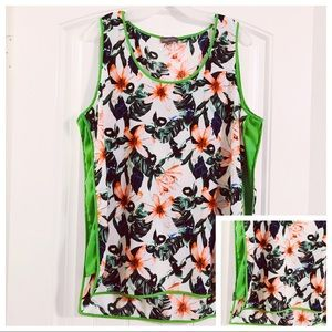 Vince Camuto White Green Floral Print Tank Top L